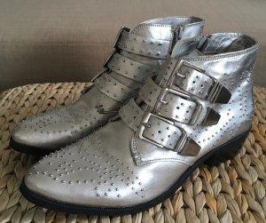 NEU Bronx BrezaX Ankle Boots 37 Glattleder Silber Echtleder Nieten Stiefeletten