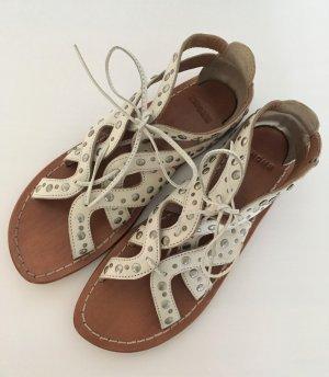 NEU Bronx Leder Sandalen 38 Creme Nude Römer Gladiator Sandaletten Nieten Blogger