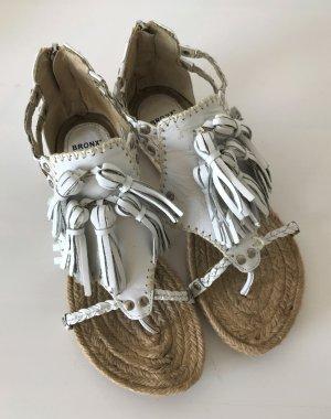 NEU Bronx Sandalen Leder Weiß Ecru 37 Sandalette Römer Espandrilles Quasten