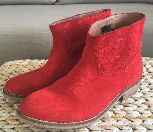 NEU Bronx Western Ankle Boots 38 Wildleder Rot Stiefeletten Echtleder Lederboots