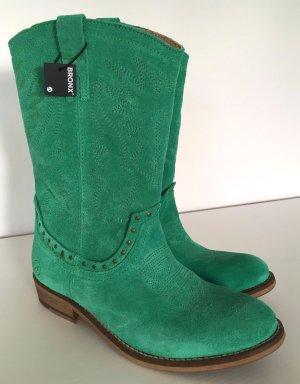 NEU Bronx Western Stiefel 37 Cowboy Suede Boots Grün Herbst Winter Stiefeletten Leder