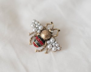 Brooch silver-colored-neon red