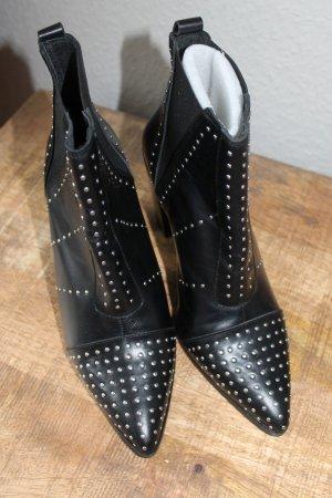 NEU Buffalo Boots Schwarz Nieten Gr. 40 Leder Blogger Stiefel