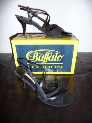 Neu Buffalo High Heels Sandalen schwarz Leder Größe 39