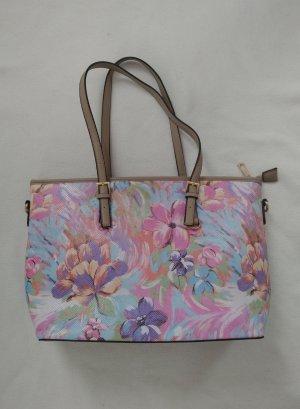 Neu Bunte Sommer Frühling Tasche in Pastellfarben mit Blumen und goldenen Details