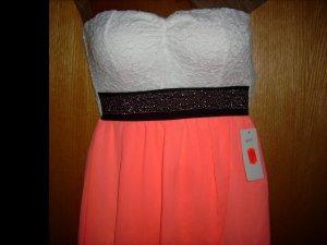 NEU-Bustier-Vokuhila-Kleid-weiß mit Neon-Orange -toller Chiffonstoff mit Nieten