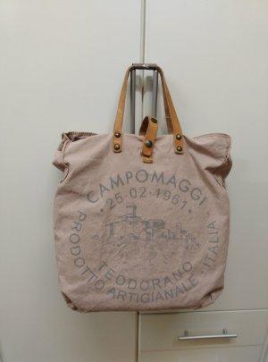 NEU! *CAMPOMAGGI* Handtasche groß Canvas Shopper Baumwolle+Leder rosa+grau