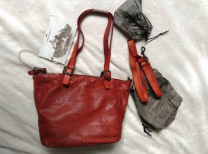 NEU. Campomaggi Leder Schultertasche Handtasche Ziegelrot