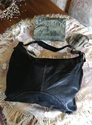 NEU. Campomaggi Schultertasche Shopper Umhängetasche Leder schwarz Canvas