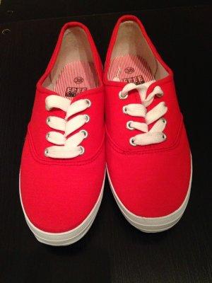 NEU Canvas Sneaker Schnürschuh Stoffschuh Rot weiß Marine Look 38
