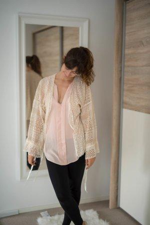 NEU Cardigan Strickjacke aus Spitze creme kimono