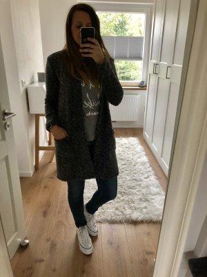 Neu Cardigan Überwurf Pullover langärmlig grau weiß schwarz meliert locker lang