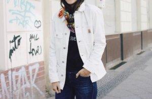 Neu! Carhartt Denim Oversize Jacke Blogger White Cosy Clean Chic Minimalism