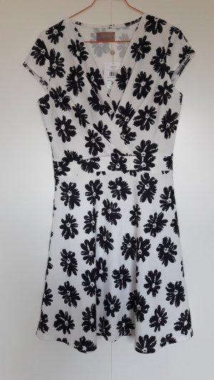 NEU Cartoon Kleid weiß schwarz Blümchenmuster tailliert