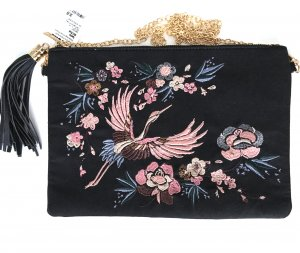 * NEU * cartoon Tasche Clutch schwarz gold silber geblümt stickerei Kranich Vogel rosa blau abnehmbare Kette Quaste