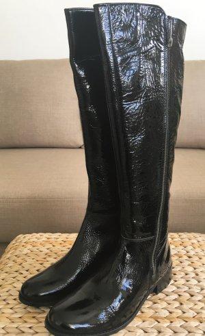 NEU Carvela Kurt Geiger 38 Schwarz Patent Overknee Stiefel Lack Lederstiefel