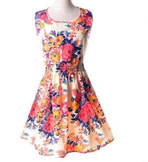 NEU Casual flower Printed sleeveless, Summer Chiffon Dress
