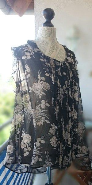 Ruche blouse zwart-zandig bruin Synthetische vezel