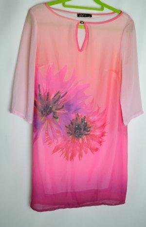 NEU Chiffon Kleid Tunika mit Blumenmuster Pink Rosa Flower Obre Langarmkleid Gr. 36