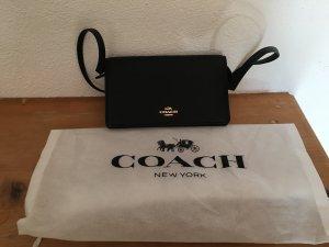 NEU Coach Leder Tasche Umhängetasche clutch schwarz kleine Tasche Gold
