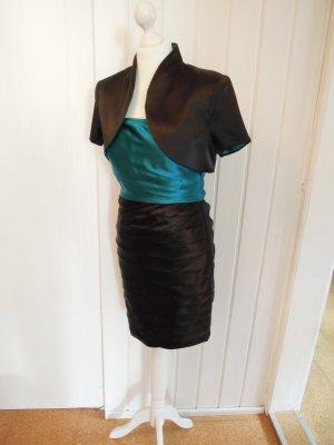 NEU Cocktailkleid Abendkleid Kleid schwarz petrol mit Kurzarm Bolero Satin Gr. 36