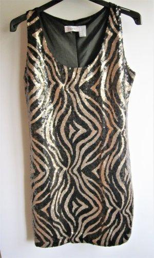 NEU Cocktailkleid Kleid Etuikleid Abendkleid schwarz gold Pailletten 42 44 M L Heine