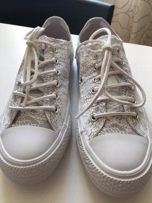 Converse Basket à lacet blanc-gris clair coton
