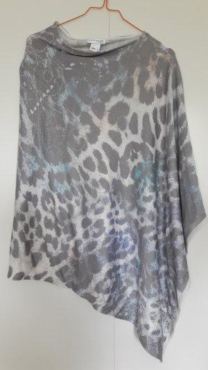 NEU Creation L Poncho Leopardenmuster asymmetrisch weiß taupe blau beige Gr. One Size