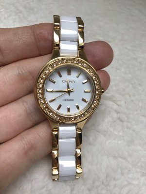 NEU Damen Armbanduhr DKNY Weiß Gold Strass Ceramic Watch