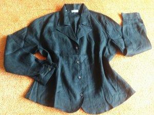 NEU Damen Bluse Leinen Hemd Bluse Gr.XXL(52)in Schwarz von Seiden Sticker