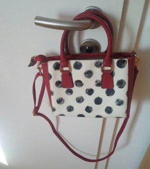 NEU Damen FRANK WALDER Handtasche rot weiß schwarz gepunktet UVP 79,95€