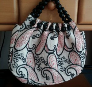 NEU Damen Handtasche Designer süß, aus Stoff bunt mit Holzperlen Wunderschöne Handtasche.