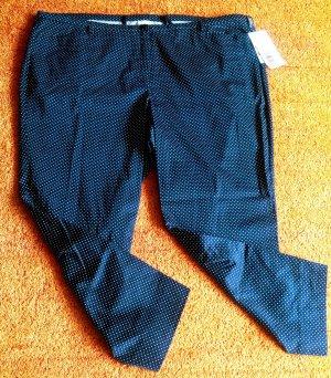 7/8 Length Trousers white-dark blue cotton