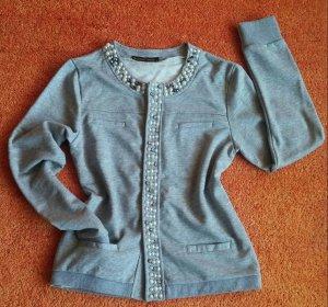 NEU Damen Jacke Perlen Glitzer edel Design Gr.M in Grau Madame E´lyseés