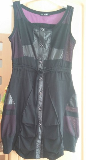 Glamz vestido de globo negro-púrpura Algodón