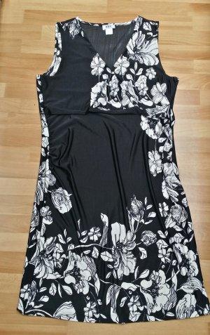NEU Damen Kleid in schwarz weiß, Blumenmuster/ gr. 44/46 / bonprix