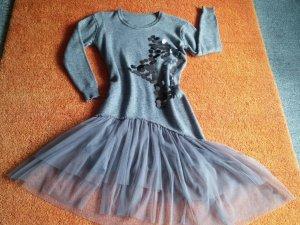 NEU Damen Kleid Winter Wollstrick Glitzer Lagenlook Gr.S in Grau meliert