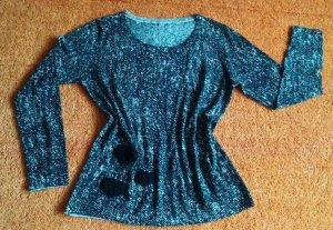 Apanage Jersey de cuello redondo negro-gris claro Lana