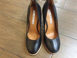 Neu! Damen Schwarz Keilabsatz Schuhe
