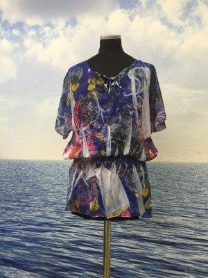 Neu Damen Sexy Bluse Tunika Shirt ToChiffon Bunt Gr. S bis XL
