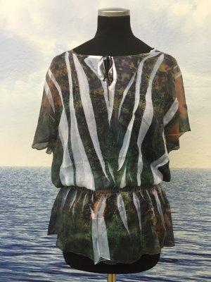 Neu Damen Sexy Bluse Tunika Shirt Top Hemd Chiffon Bunt Gr.S bis L