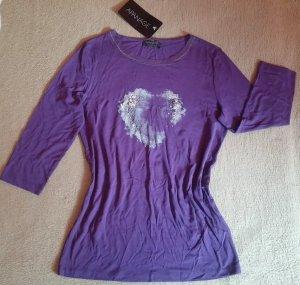 NEU Damen Shirt Bluse mit Glitzer Herz, leicht dehnbar v. APANAGE Gr. 38 in Lila