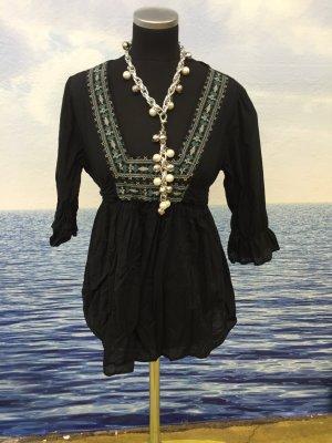 Camisa tipo túnica negro Algodón