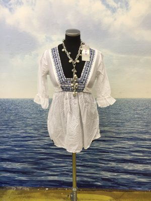 Camisa tipo túnica blanco-azul