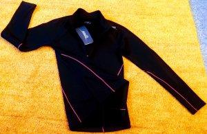 Camisa deportiva negro-rojo ladrillo Poliéster