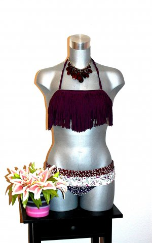 Neu Design Bikini Gr. 34/36 Fransen Weinrot Lila Muster