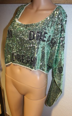 NEU Designer WILDFOX limited Editon Pailletten TEEN DREAM Crop Pullover Sweater
