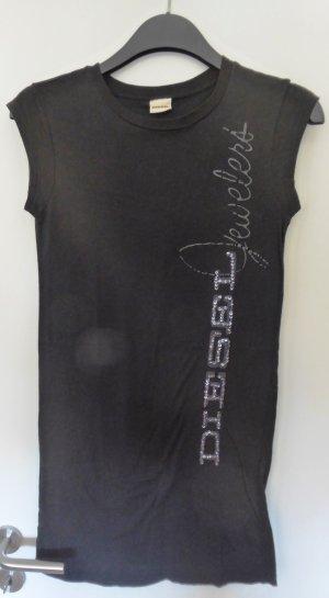 NEU - Diesel Long-Shirt mit Pailletten-Applikation auf der Frontseite, Schwarz
