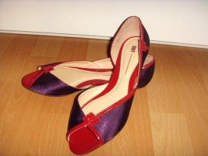 *NEU* Dilly Designer Ballerinas Peeptoe Lack Leder Satin Rot Lila Gr. 37