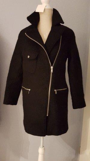NEU DIVIDED Oversized Stil Mantel Jacke Schwarz Wolle leicht und schön Reißverschluß